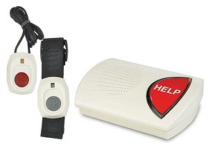 medical alert system devices, wristband, neck pendant, base unit