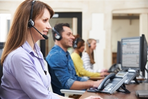 Customer Service - Call center - agent taking a phone call for medical alert system, home security system, identity theft protection