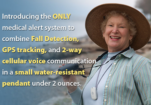 Medical Care Alert - Home & Away Elite System with Fall Detection - neck pendant worn by lady outside