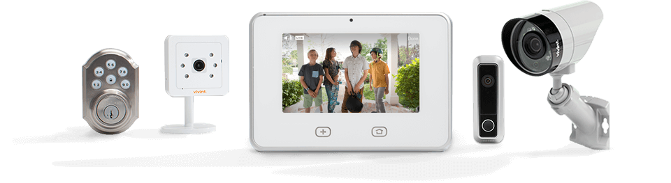 Vivint home security equipment and devices - touchscreen panel, camera, motion detector, deadbolt keypad lock