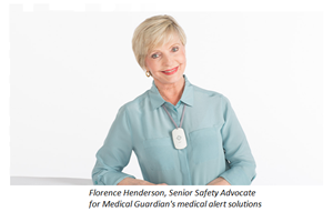 Florence Henderson, senior safety advocate for Medical Guardian, fall detection system