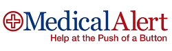 MedicalAlert logo, Help at the Push of a Button, top rated by InHomeSafetyGuide